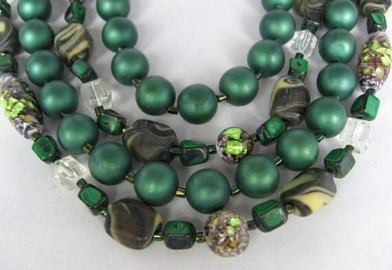 Vintage Four Strand Dark Green Art Glass Necklace