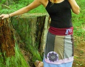 Eco/Upcycled Colored Earth Boho Skirt Size Small