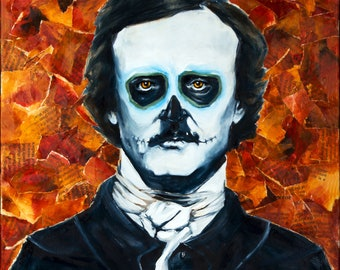 "Edgar Allen Poe, Dia de los Muertos 10""x10"" Photo Reproduction"