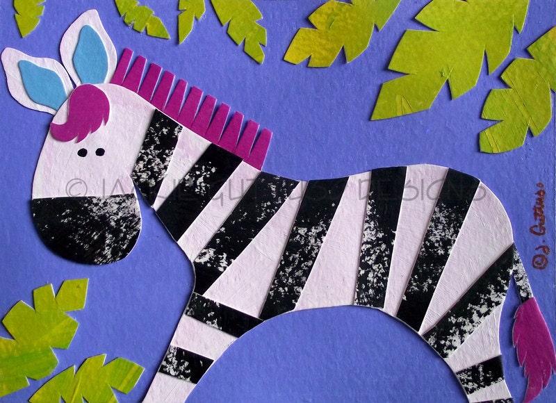 Zebra Art Original Kids Art Jungle Art Nursery Art