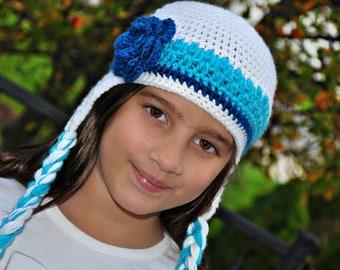 Crochet Hat- Braided/Earflaps