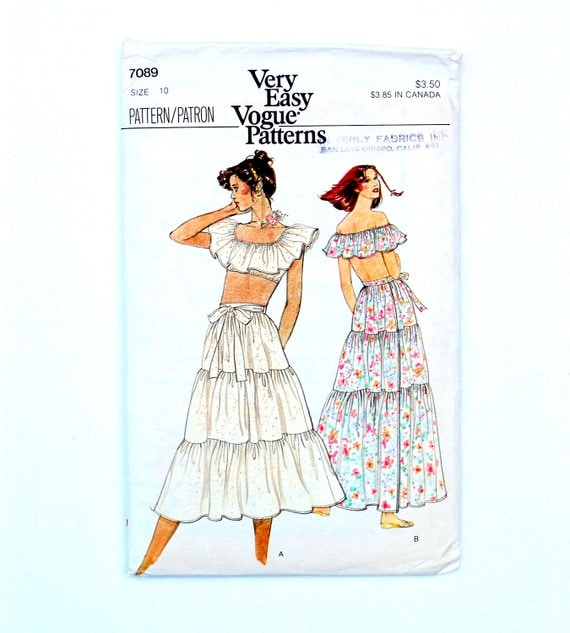 RESERVED FOR BRENDA: 70s/80s Very Easy Vogue Patterns Uncut Misses Ruffle Top and Skirt Size 10 - Sale