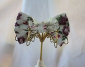 Pink and Purple Floral Hair Bow with Cream Lace