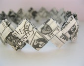 Origami paper bangle, recycled wrappers, comic book style