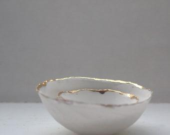 Set of 2 English fine bone china miniature nesting stoneware bowls with real gold