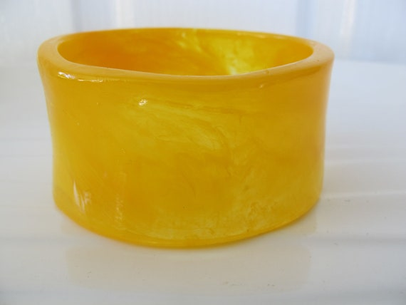 Translucent yellow, cuff style, resin bangle bracelet