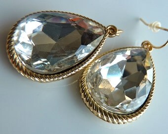 Teardrop Gold Bezel Crystal Dangle Drop Earring Bridesmaids Wedding Holiday Gifts For Her 203