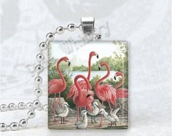 PINK FLAMINGO BIRDS Scrabble Tile Art Pendant Charm