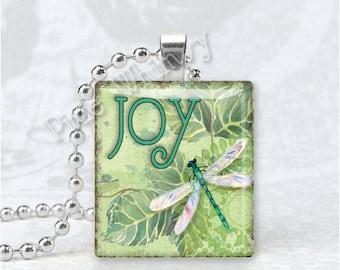 JOY and DRAGONFLY Scrabble Tile Art Pendant Charm