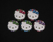 5 Cheetah Kitty Flatback or Pinback buttons 1 inch