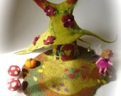 Fairy  House. Hand Felted.Waldorf Fairy elf. Wet Felted.Waldorf.