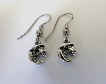 Sterling Silver Small Moon and Star Earrings