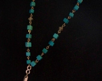 Tourquoise Beaded Rosary-Inspired Necklace