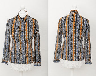 Psychodelic Shirt / Vintage blouse geometrical print of mustard, blue, black and white colors / Retro Shirt / Psychodelic 70s Pattern Top