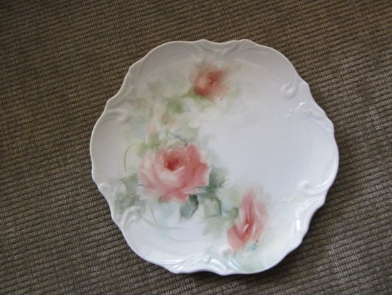 Pink Roses on a porcelain plate