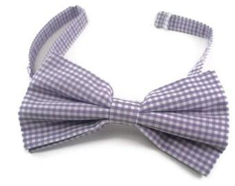 Lavender ginham bowtie
