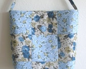 Tudor Lane by Lecien of Japan floral quilted 9 patch patchwork purse tote bag in grey and blue floral