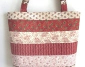 Medium Tote bag Red and Brown quilted patchwork bag floral horizontal stripes 10% off