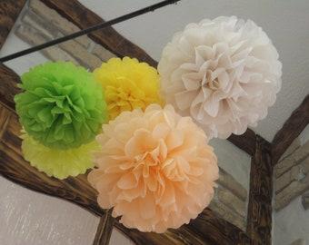 16 Tissue Paper Pom Poms - Choose your Colors - Wedding Decor - Party Decor - Home Decor