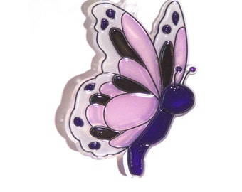 ORNAMENT - Butterfly - Acrylic - Purple - Black - Lilac - White - Handpainted Home Decor