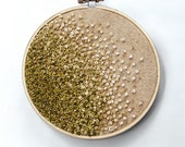 Mossy Green Gradient/ Ombre Embroidery Hoop Art - Autumn - French Knots and Beads