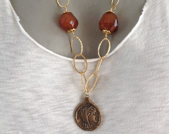 Red Agate and Indian Coin Necklace