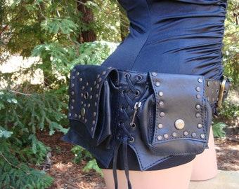 6 Pockets Black Leather Utility Burner Belt hip size 33-42
