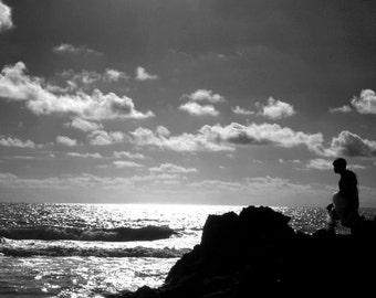 Fisherman in Hawaiin Sunset