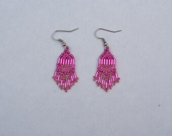 Small Pink Seed Bead Earrings