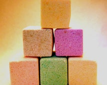 6 Bath Fizzies with Sweet Almond Oil and European Spa Salts, Assorted Fragrances: lavender, oatmeal and honey, coconut, etc.