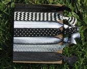 7 Pack Black White CHEVRON Polka Dots Tie Dye Knot Hair Ties Stretch Fold Over Elastic PonyTail Holder Bracelet 209