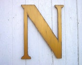 Shabby chic Rustic Wooden letter N 18 inch serif font Gold Personalized Initial Wall Hanging Letter Home decor