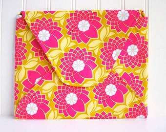 iPad Envelope Sleeve in Chartreuse with Hot Pink Lotus Flowers