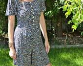 Sale-90s Floral Romper, Vintage Blue Floral, Short Sleeve, Square Collar, Womens