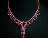 1950s Vintage Ruby and Rose Cocktail Necklace
