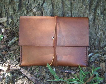 Leather Photo Pouch, Brochure Pouch, Photo Wallet, Postcard Pouch,or Possibles Bag. Completely Handmade By Baytowne Leather.