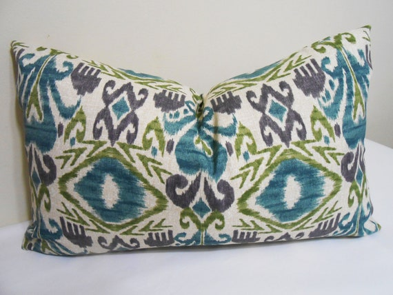 Purple And Lime Green Throw Pillows : Ikat Outdoor/Indoor Lumbar Pillow Cover Turquoise Purple
