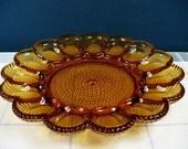 Vintage Amber Hobnail Indiana Glass Deviled Egg Dish