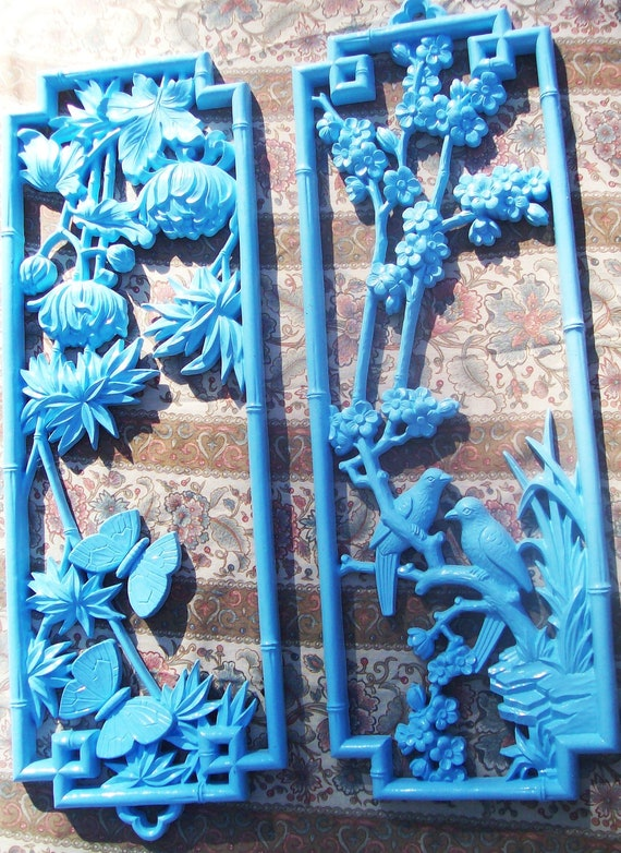 Shabby Chic light blue vintage wall decor set of 2 upcycled 1975 Homco with flowers butterflies birds painted