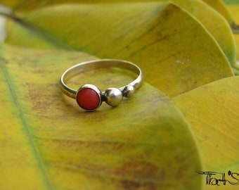 Bubbles coral sterling silver ring