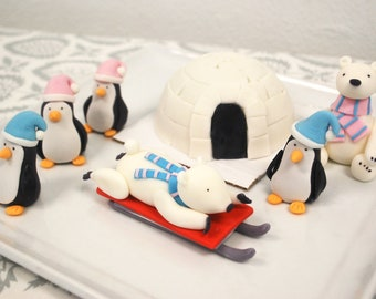 Edible Fondant Cak -1 qty Igloo, 2 qty polar bears, 4 qty 3D PENGUIN and 1 qty Sled - winter birthday party or christmas party