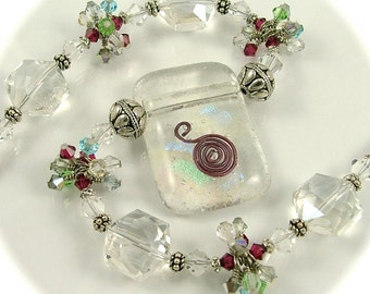 MAJOR MARKDOWN - Crystal Ice - Wire Wrapped Crystal Clusters on a Beaded Dichroic Fused Glass Statement Necklace-OOAK