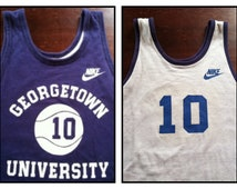 NIKE Jersey GEORGETOWN Vintage CHAMPION 80's Basketball Jersey Shirt/ Authentic Reversible Number 10 Collection Purple Med/Large