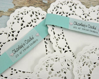 "White Heart Doilies 6"" French Lace Rose scalloped edged doily Qty 25"