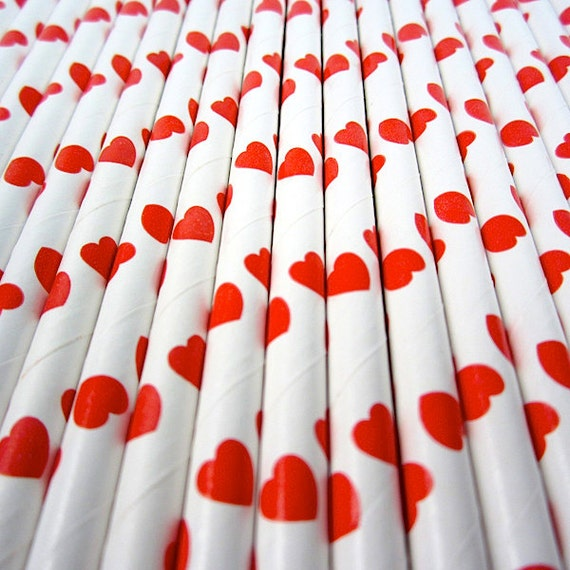 25 Red Hearts Paper Straws - Drinking Straw - Party Supplies