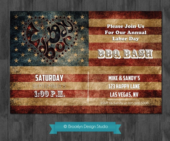 Vintage Custom Labor Day or 4th of July  Invitation red, white and blue flag - Digital File