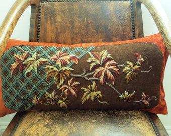Victorian beadwork & needlepoint cushion.