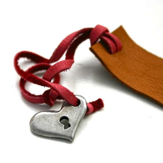 Red and brown leather bookmark with heart charm