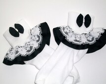 girls  Black and white lace ruffle socks,toddler ruffle, baby socks, infant ruffle socks