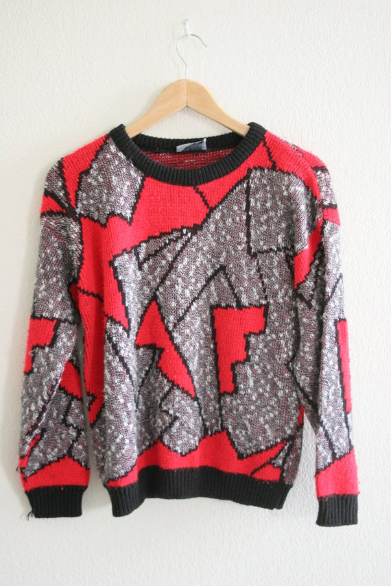 Vintage 80s abstract geometric zig zag knit jumper / sweater bright red